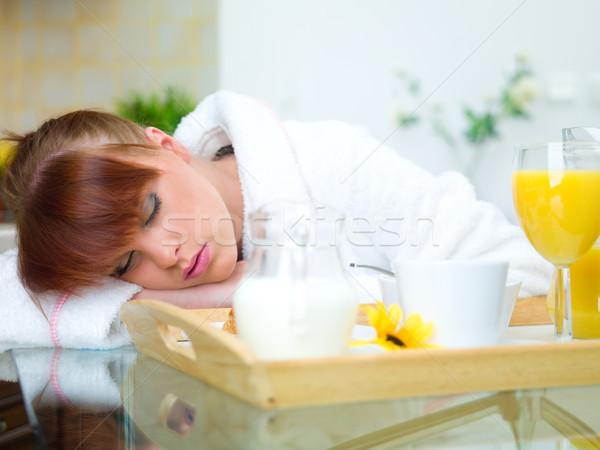 Mulher cozinha bela mulher adormecido tabela menina Foto stock © dash