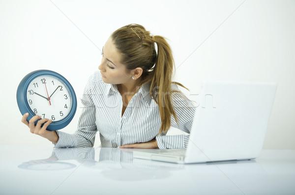 Ki idő gyönyörű üzletasszony minden nap iroda Stock fotó © dash