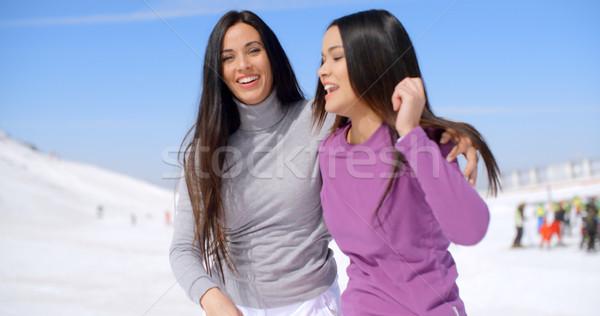 Nevet fiatal nők sí üdülőhely tél áll Stock fotó © dash