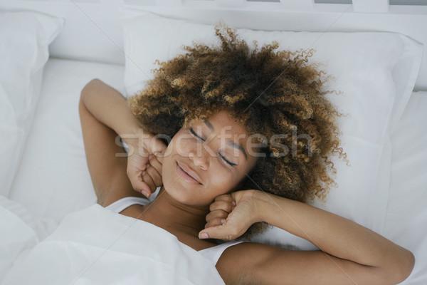 Donna risveglio felicemente giovani meraviglioso Foto d'archivio © dash