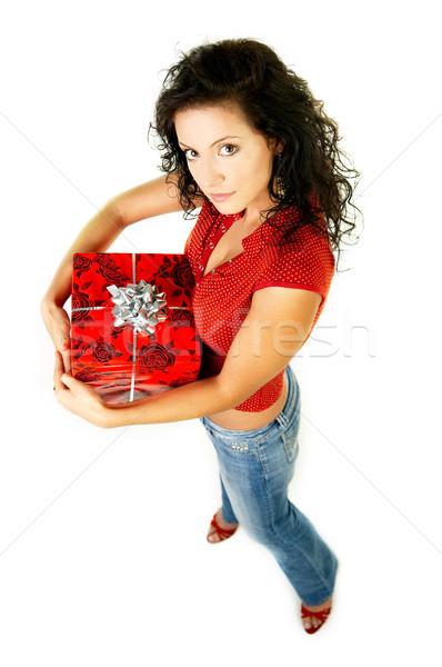 Dar dom bela mulher mãos papel menina Foto stock © dash