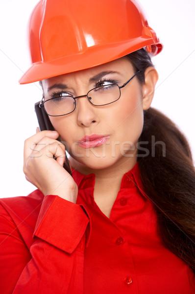 Weiblichen Architekt sprechen Handy isoliert weiß Stock foto © dash