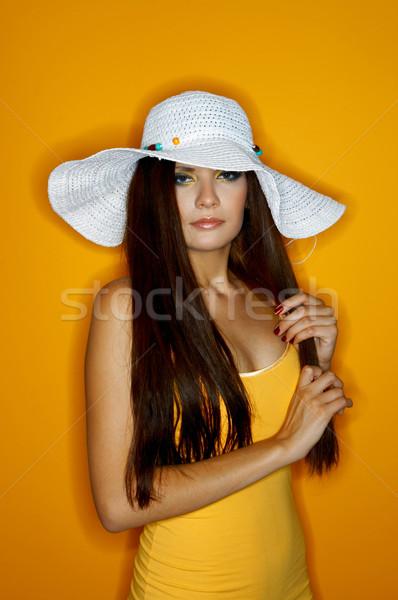 женщину цветы портрет изолированный цвета Сток-фото © dash