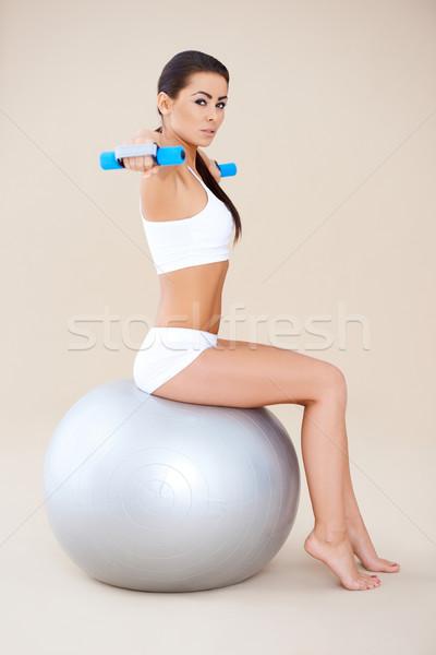 Emel súlyok ül fitnessz labda lány Stock fotó © dash