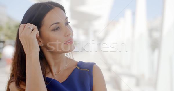 ストックフォト: 若い女性 · 夢のような · ゴージャス · 立って · 屋外 · 白