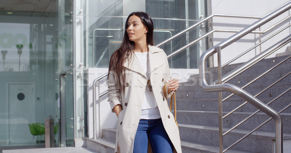 Stylish woman walking down a flight of stairs Stock photo © dash