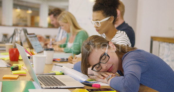 Employee sleeping at table with coworkers Stock photo © dash