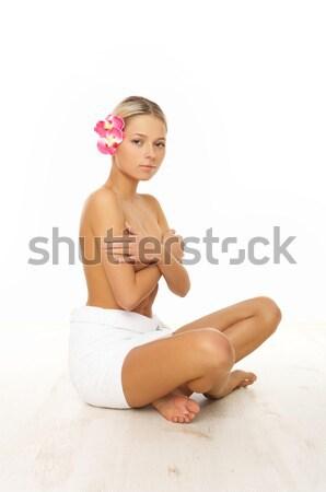 Stok fotoğraf: Günlük · spa · portre · güzel · bir · kadın · terapi · kadın