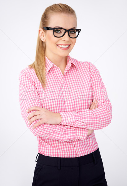 Portrait of a happy blonde geek girl in glasses Stock photo © dash