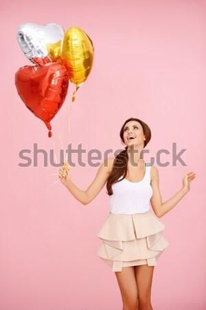 Bruna rosso cuore pallone donna sexy Foto d'archivio © dash