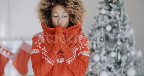 Young African woman celebrating Christmas Stock photo © dash