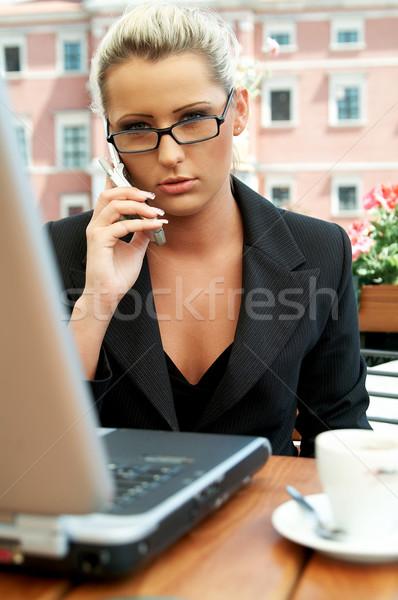 Stockfoto: Business · outdoor · vrouwen · werken · laptop · computer · praten