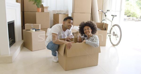 Boldog fiatal pér költözés együtt csinos fiatal nő Stock fotó © dash
