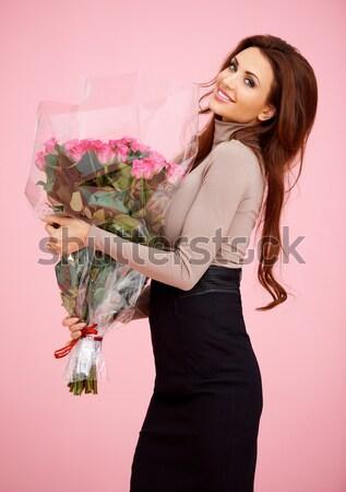 Beautiful stylish woman with roses Stock photo © dash