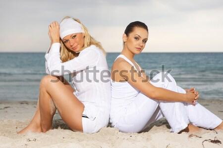 Stok fotoğraf: Yoga · caribbean · iki · genç · güzel · kadın