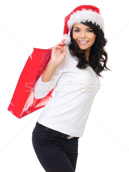 Pretty woman out doing Christmas shopping Stock photo © dash