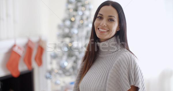 Modny modny młoda kobieta zimą szyi Zdjęcia stock © dash