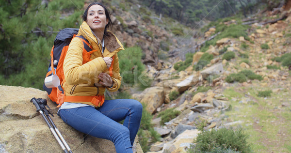Athletic young female backpacker Stock photo © dash