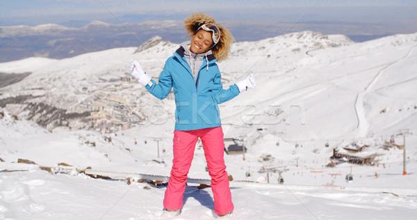 Célibataire ski vêtements bras belle Photo stock © dash