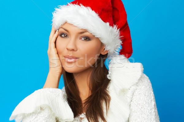 Esposa anos bela mulher papai noel seis azul Foto stock © dash