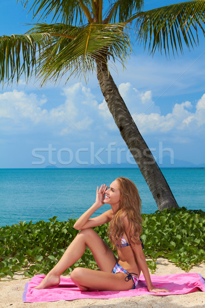 Woman sitting on a towel at the beach Stock photo © dash