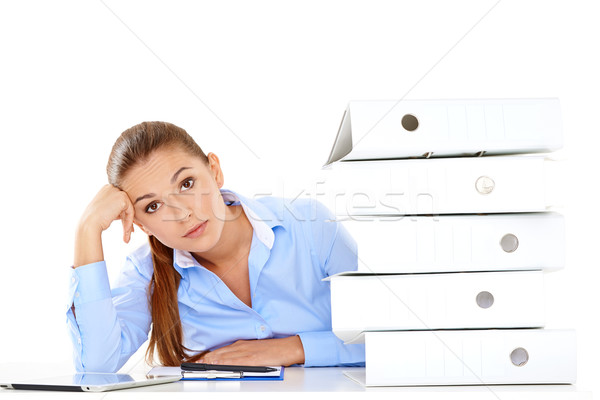 Overworked stressed businesswoman Stock photo © dash