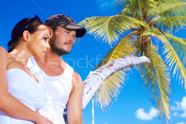 Coppia palma romantica piedi acqua albero Foto d'archivio © dash