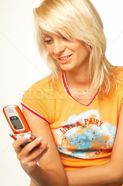 women talking cell phone Stock photo © dash