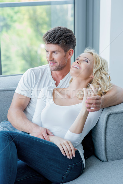 Young couple spending a relaxing day at home Stock photo © dash