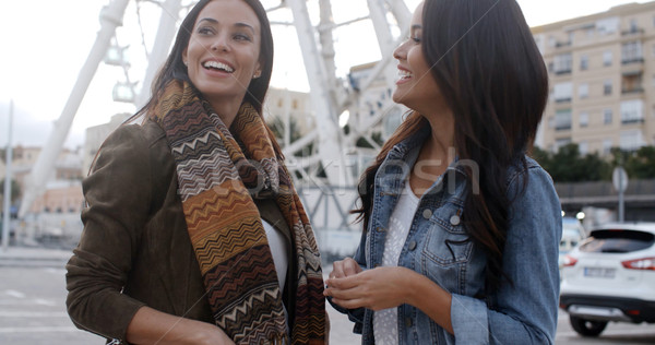 Fun happy young women in front of a ferris wheel Stock photo © dash