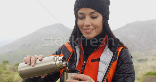 Thirsty young woman backpacker Stock photo © dash