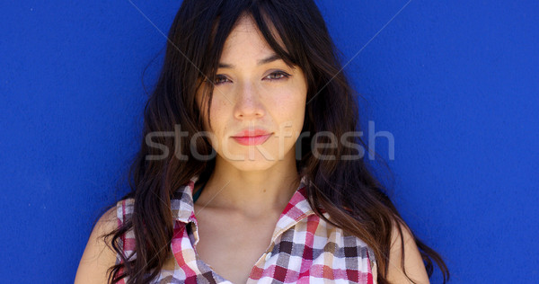 Close up of pretty brunette with long hair Stock photo © dash