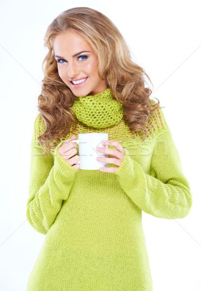 Donna Cup bevanda calda faccia Foto d'archivio © dash