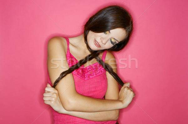 Stockfoto: Vrouw · kleuren · portret · jonge · vrouw · geïsoleerd · kleur