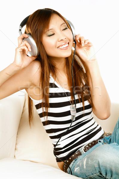 Genç Asya güzel kadın müzik Stok fotoğraf © dash