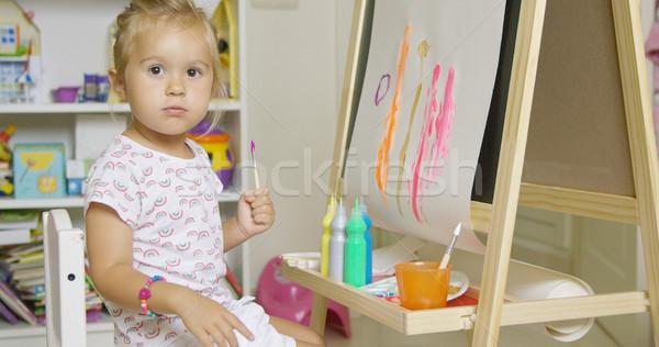 Pretty little girl artist Stock photo © dash