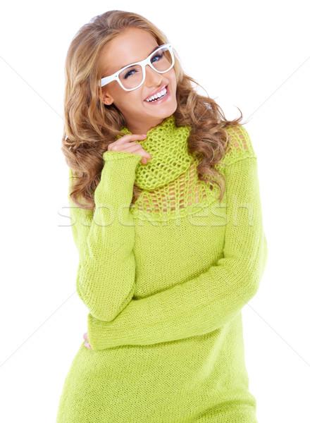 Stock fotó: Nő · modern · szemüveg · gyönyörű · nő · fürtös · hosszú