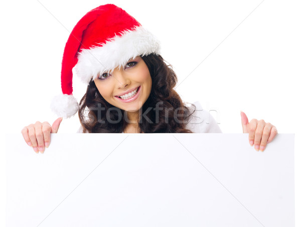 Pretty woman in Santa hat displaying a sign Stock photo © dash