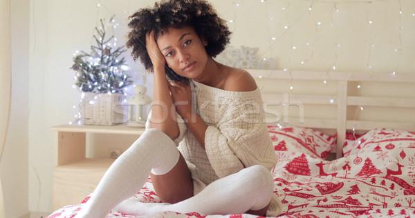 Pensive young woman celebrating Christmas alone Stock photo © dash