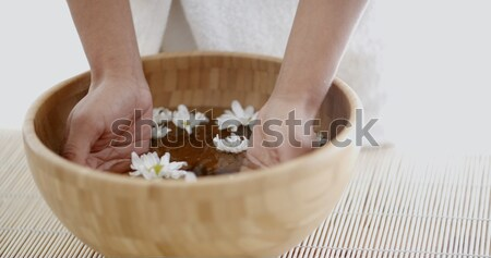 Female Hands With Bowl Of Aroma Water Stock photo © dash