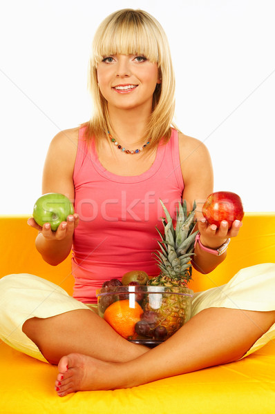 Happy women with fruits Stock photo © dash
