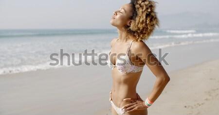 Donna indossare nero bikini posa Foto d'archivio © dash
