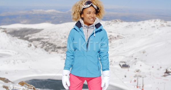 Beautiful woman in ski outfit standing on mountain Stock photo © dash