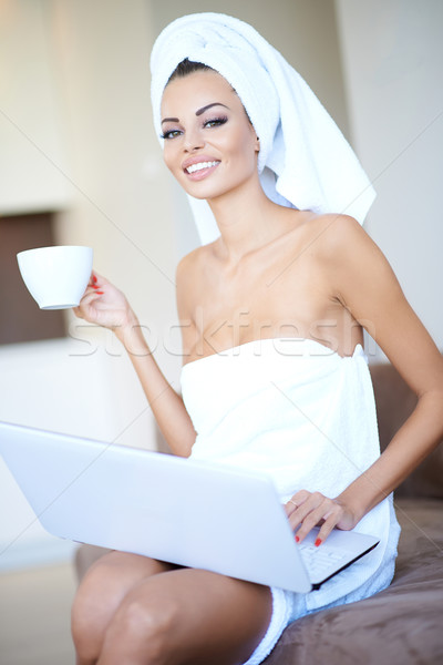 Young woman enjoying a relaxing morning Stock photo © dash