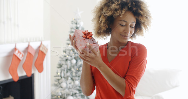 Blissful happy young woman holds a Christmas gift Stock photo © dash