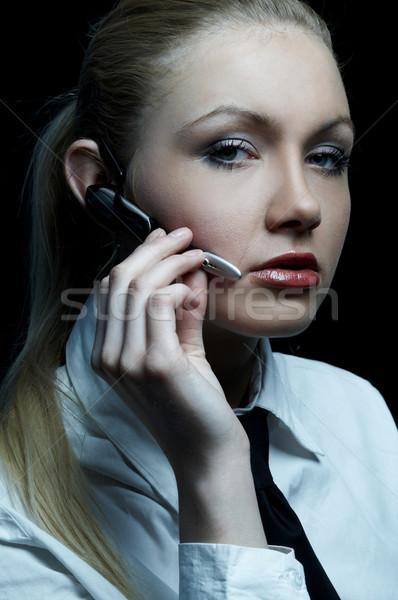 Siyah iş güzel iş kadını kravat Stok fotoğraf © dash