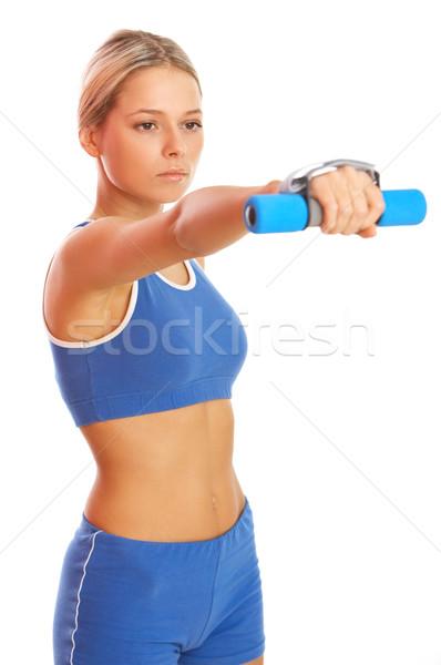 Uygunluk kız genç güzel bir kadın zaman egzersiz Stok fotoğraf © dash