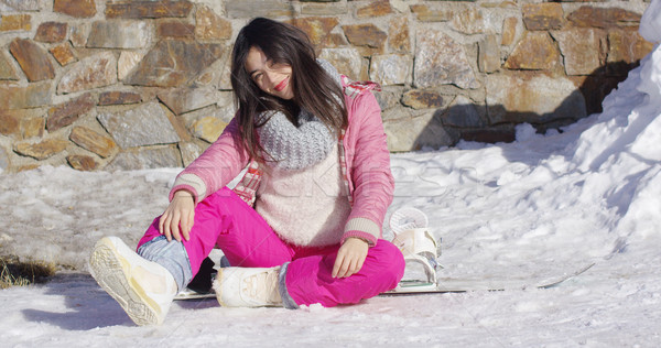 Young asian snowboarder girl relaxing Stock photo © dash