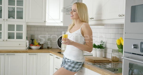 笑顔の女性 ガラス ジュース 美しい 若い女の子 着用 ストックフォト © dash