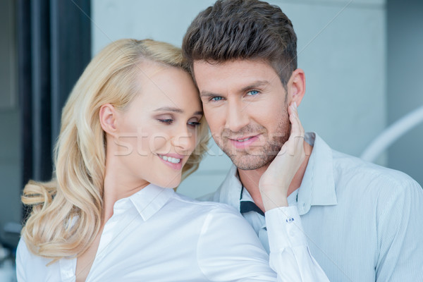 Close up Middle Age Sweet Couple on White Attire Stock photo © dash